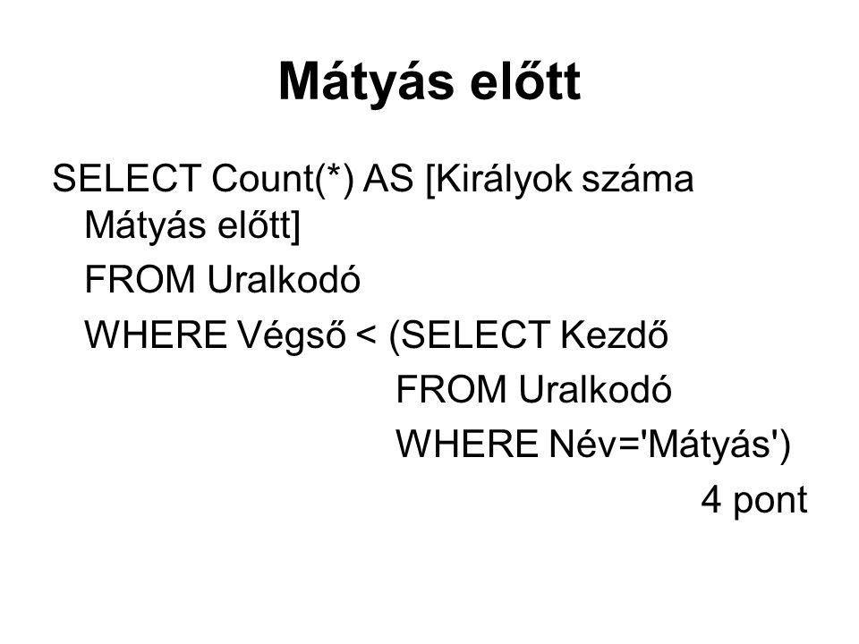 Mátyás előtt SELECT Count(*) AS [Királyok száma Mátyás előtt]